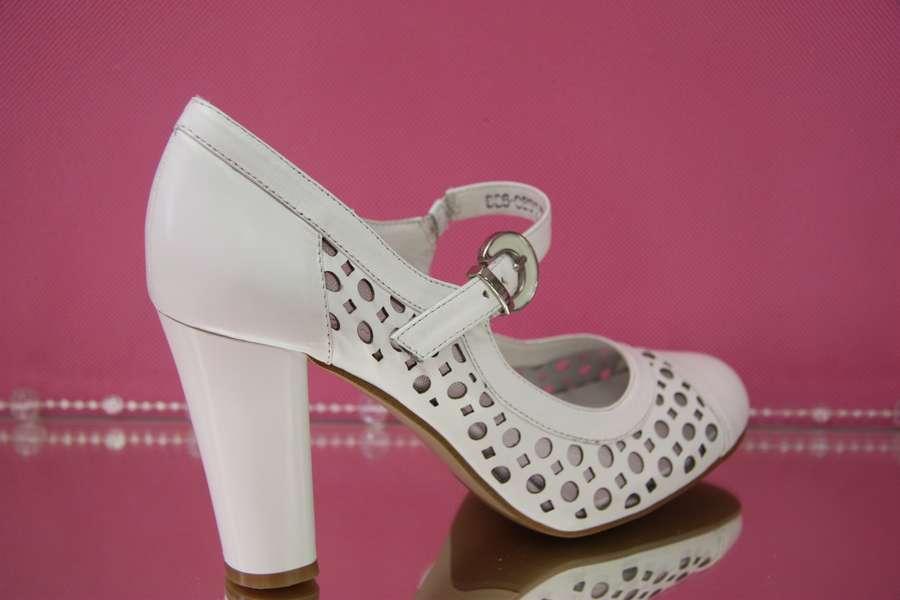 Свадебные туфли белые в дырочку широкий устойчивый каблук с перепонкой купить в Москве недорого фото